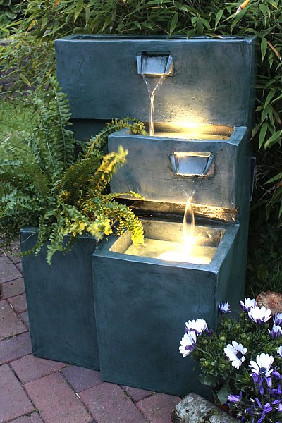 springbrunnen grada b ware gartenbrunnen mit led beleuchtung terrassenbrunnen ebay. Black Bedroom Furniture Sets. Home Design Ideas