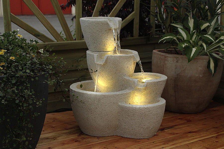gartenbrunnen taverna springbrunnen mit led wasserspiel terrassenbrunnen. Black Bedroom Furniture Sets. Home Design Ideas