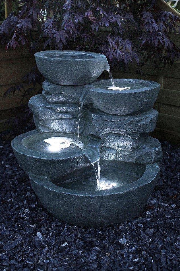 zimmerbrunnen cascades mit led beleuchtung springbrunnen gartenbrunnen ebay. Black Bedroom Furniture Sets. Home Design Ideas
