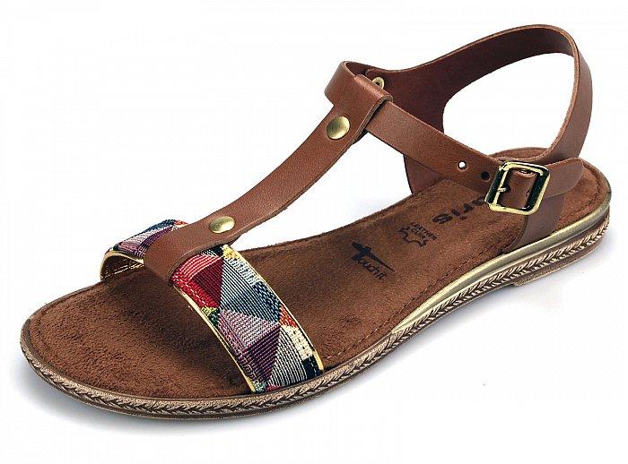 tamaris damen offene sandalen leder 28149 cognac comb 37. Black Bedroom Furniture Sets. Home Design Ideas