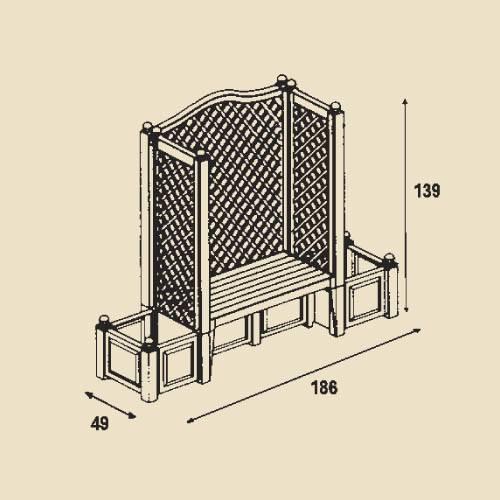 gartenbank london pflanzkasten blumenk bel bank mit spalier gartenm bel khw ebay. Black Bedroom Furniture Sets. Home Design Ideas
