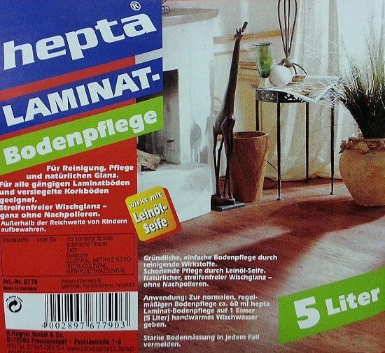 laminatpflege hepta laminatreiniger reinigungsmittel reiniger bodenpflege 5 l geschwenda. Black Bedroom Furniture Sets. Home Design Ideas