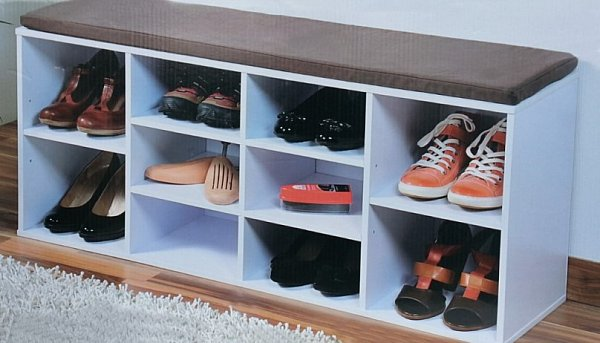 schuhregal mit sitzkissen hocker regal sitzbank bank schuhschrank schuhablage ebay. Black Bedroom Furniture Sets. Home Design Ideas