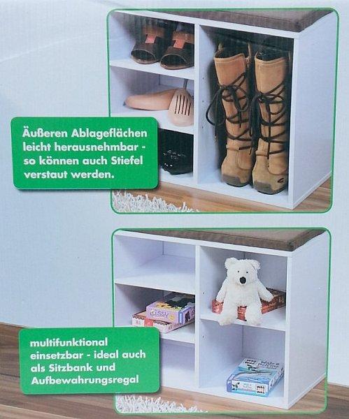 schuhregal mit sitzkissen hocker regal sitzbank bank. Black Bedroom Furniture Sets. Home Design Ideas
