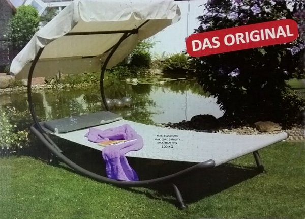 leco singleliege mit dach gartenliege liege relaxliege sonnenliege 2 m x 1m neu ebay. Black Bedroom Furniture Sets. Home Design Ideas