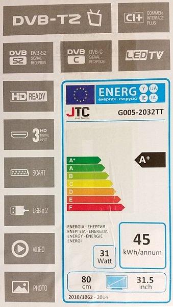 jtc led tv 2032tt dvb t2 fernseher 31 5 zoll dvb t2 s2. Black Bedroom Furniture Sets. Home Design Ideas