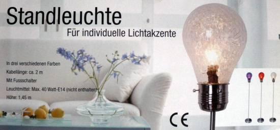 STEHLAMPE STANDLEUCHTE GLÜHBIRNE LAMPE STEHLEUCHTE