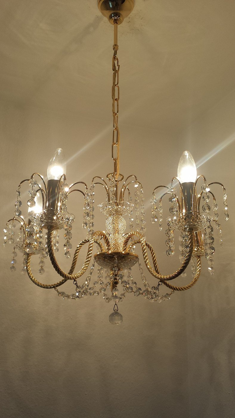 kristall kronleuchter 24 karat vergoldet von s lken. Black Bedroom Furniture Sets. Home Design Ideas