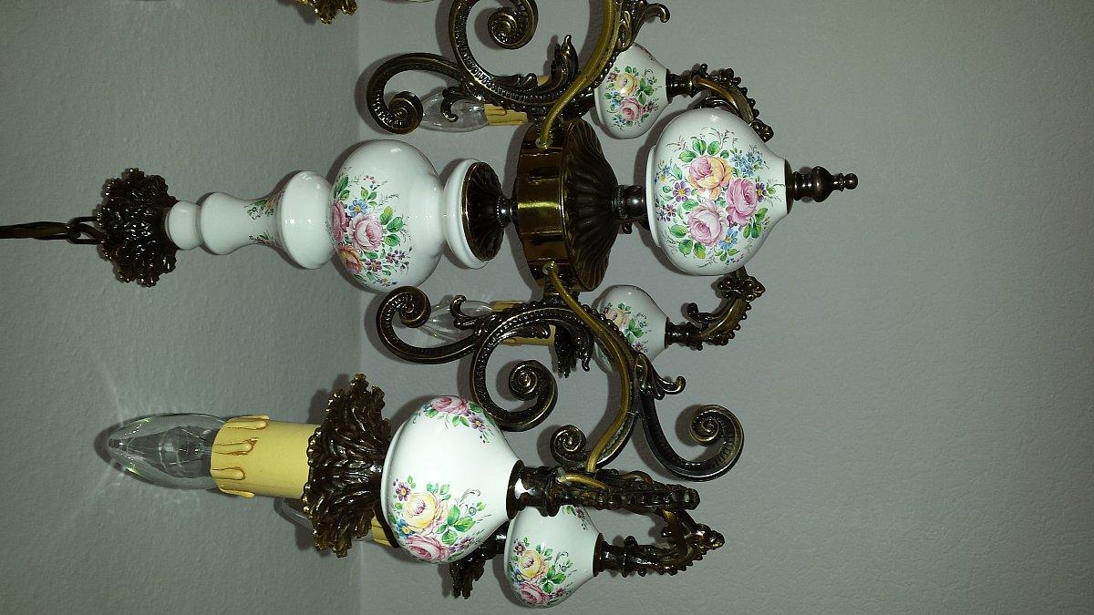 alter kronleuchter deckenlampe 6 flammig mit porzellan einsatz ebay. Black Bedroom Furniture Sets. Home Design Ideas