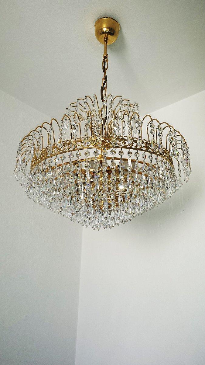 kristall kronleuchter 24 karat vergoldet ebay. Black Bedroom Furniture Sets. Home Design Ideas