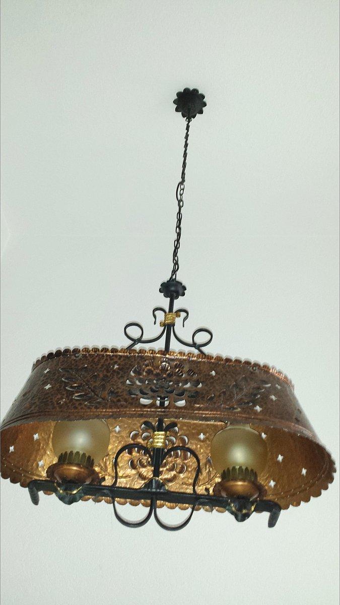 h ngelampe schmiedeeisen kupfer antik lampe rustikal landhaus. Black Bedroom Furniture Sets. Home Design Ideas