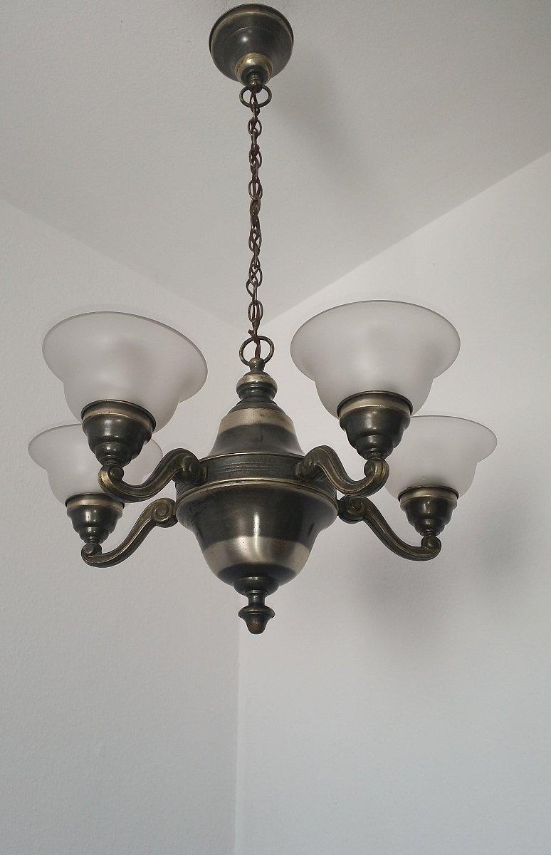 Franz sische deckenlampe messing silberfarben ebay for Deckenlampe messing