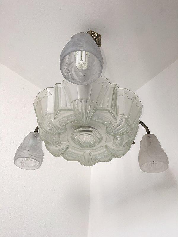 deckenlampe art deco signierte lampe um 1930 frankreich ebay. Black Bedroom Furniture Sets. Home Design Ideas