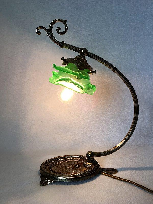 alter franz sisch schreibtischlampe messing glas nachttisch lampe ebay. Black Bedroom Furniture Sets. Home Design Ideas
