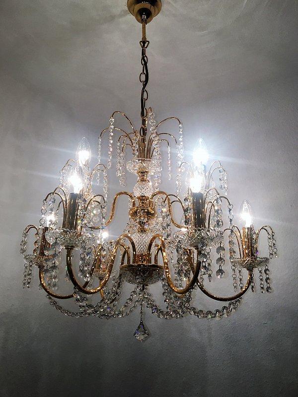 kronleuchter 9 flammig kristall l ster preico leuchten leinau ebay. Black Bedroom Furniture Sets. Home Design Ideas