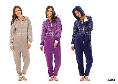 damen hausanzug overall jumpsuit pyjama aus fleece mit kapuze s m oder m l ebay. Black Bedroom Furniture Sets. Home Design Ideas