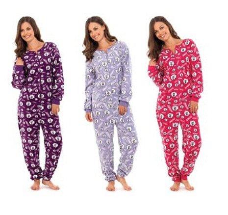 damen pyjama overall jumpsuit aus micro fleece sch fchen druck s m oder m l. Black Bedroom Furniture Sets. Home Design Ideas