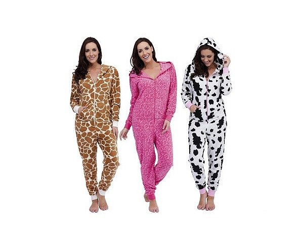 damen animal hausanzug overall jumpsuit pyjama aus fleece mit kapuze s m ode ebay. Black Bedroom Furniture Sets. Home Design Ideas