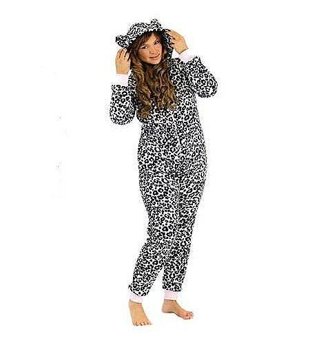 damen animal hausanzug overall jumpsuit pyjama aus teddy fleece mit kapuze m ebay. Black Bedroom Furniture Sets. Home Design Ideas