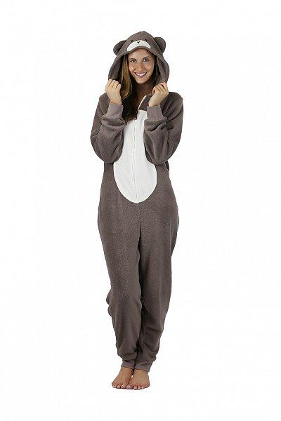 damen b r hausanzug overall jumpsuit pyjama aus teddy. Black Bedroom Furniture Sets. Home Design Ideas