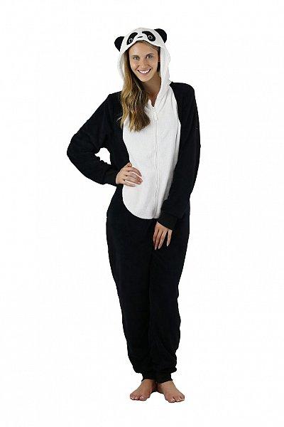 damen panda hausanzug overall jumpsuit pyjama aus. Black Bedroom Furniture Sets. Home Design Ideas