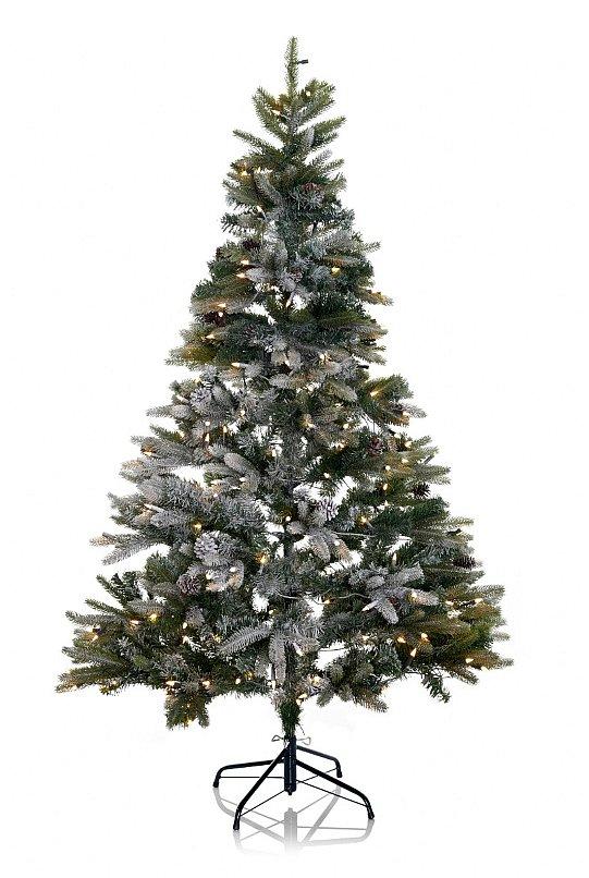 Tannenbaum beleuchtet christbaum mit schnee tannenzapfen - Beleuchteter tannenbaum kunststoff ...
