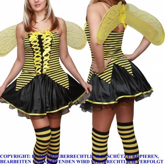sexy biene maja fasching karneval damen mini kost m go kleid fl gel s m 34 36 38. Black Bedroom Furniture Sets. Home Design Ideas