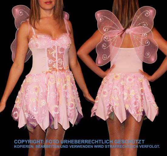 elfe fee tinkerbell schmetterling fasching fastnacht damen kost m rosa m l 38 40 ebay. Black Bedroom Furniture Sets. Home Design Ideas