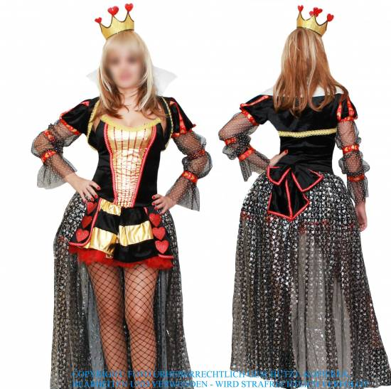herz k nigin dame karten fasching karneval damen kost m wunderland queen deluxe ebay. Black Bedroom Furniture Sets. Home Design Ideas