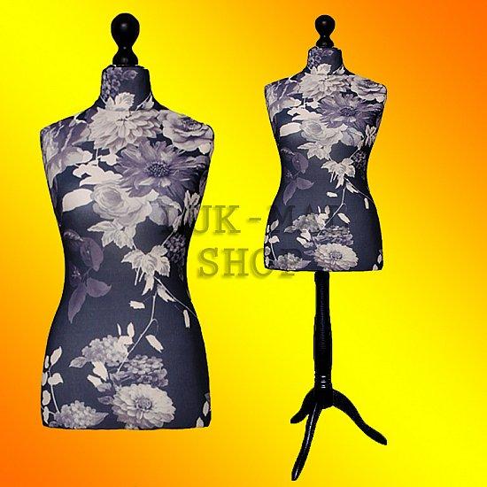 buste de couture mannequin femme de fleurs noires 34 36 38 40 42 44 46 48 buste ebay. Black Bedroom Furniture Sets. Home Design Ideas