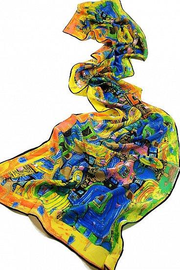 P896 160cm Kunstdruck Seidenschal Malerei Gustav Klimt Fregio Stoclet (bunt)