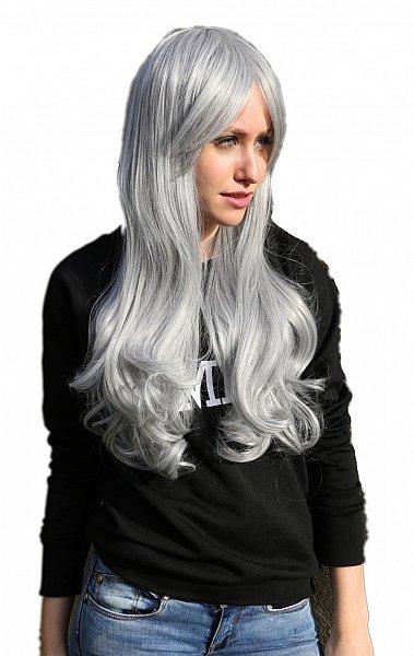 C265 70cm lang hitzefest Märchen große Locken Perücke Parrucca Wig hell grau