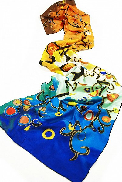 P170 160cm Seidenschal Malerei Gustav Klimt Gemälde Stoclet-Fries - Lebensbaum