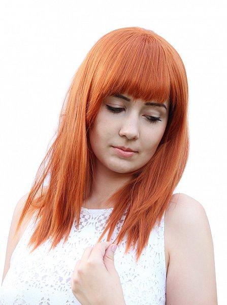 C1297 - glatte Perücke Kupferrot orange Pony leicht gestuft Wig