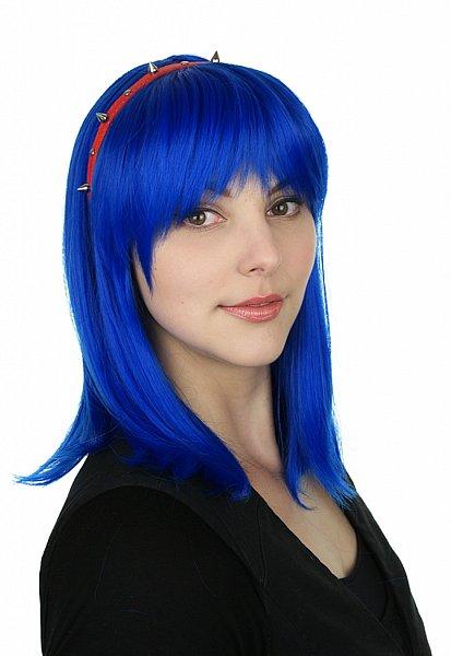 C787 45cm königsblau King blue glatt hitzefeste Fasern Perücke Wig