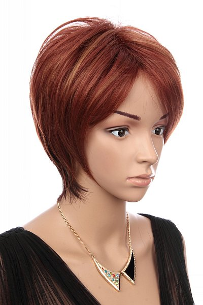 c142 per cke kurze haare rot orange t ne gestr hnt stufenschnitt ebay. Black Bedroom Furniture Sets. Home Design Ideas