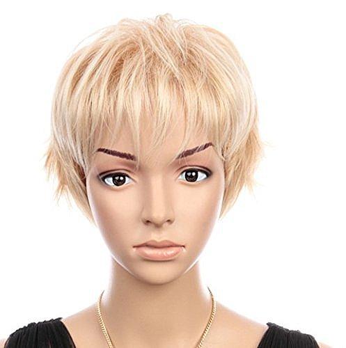 C1725 - fransig gestufter Pixie kurzhaar Perücke in hellem Blond mit platinblond