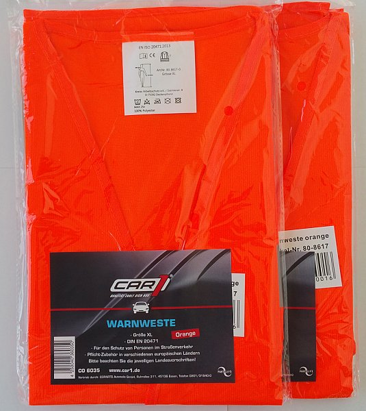 2 x warnweste orange en iso 20471 2013 pannenweste unfallweste autoweste ebay. Black Bedroom Furniture Sets. Home Design Ideas
