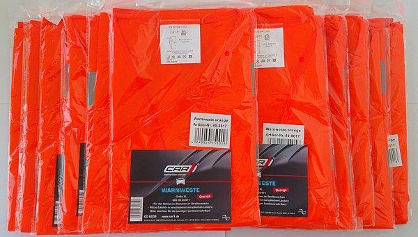 11 x warnweste orange en iso 20471 2013 pannenweste unfallweste autoweste ebay. Black Bedroom Furniture Sets. Home Design Ideas