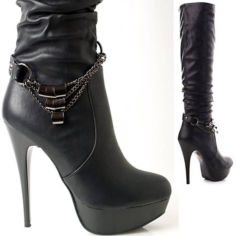 gr 36 37 38 39 plateau high heels stiefel schwarz 13cm absatz ebay. Black Bedroom Furniture Sets. Home Design Ideas