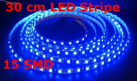 30cm led strip stripe blau band streifen strips rgb einfarbig ip68 aussen ebay. Black Bedroom Furniture Sets. Home Design Ideas