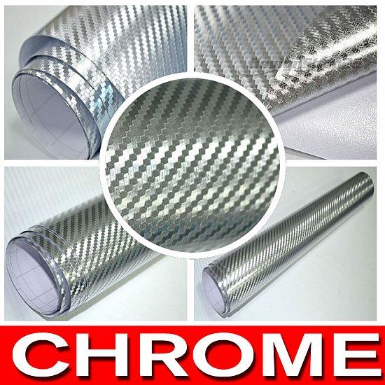 Folie din a4 muster 3d carbon chrom silber 210x297 mm auto for Klebefolie abwaschbar