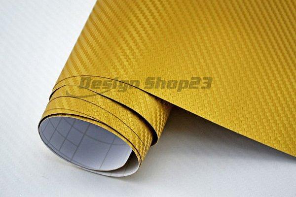11 00 m 3d carbon folie gold 50 x 152 cm auto folie selbstklebend flexibel. Black Bedroom Furniture Sets. Home Design Ideas