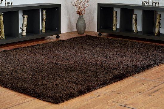 Shaggy Langflor Hochflor Teppich mit Glanzeffekt Braun in