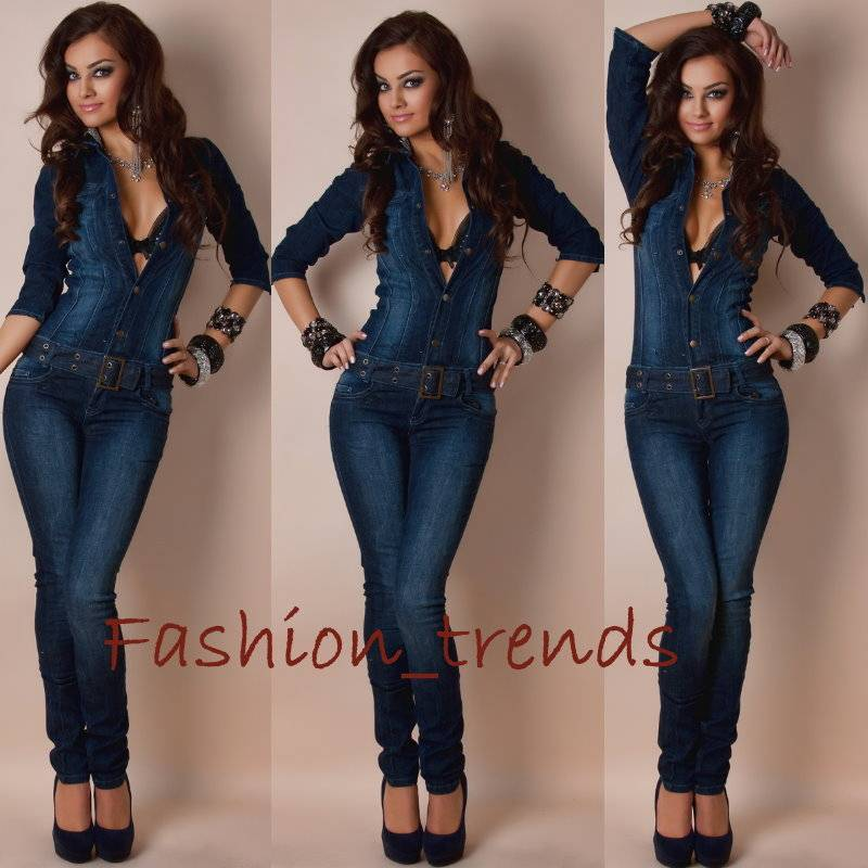 damen jeans overall catsuit hosenanzug mit g rtel xxs s m l xl 32 34. Black Bedroom Furniture Sets. Home Design Ideas