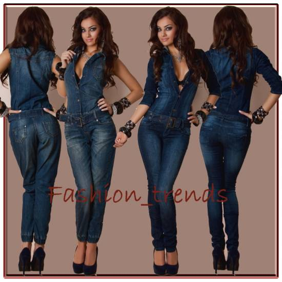 damen jeans overall catsuit hosenanzug mit g rtel xxs s m. Black Bedroom Furniture Sets. Home Design Ideas