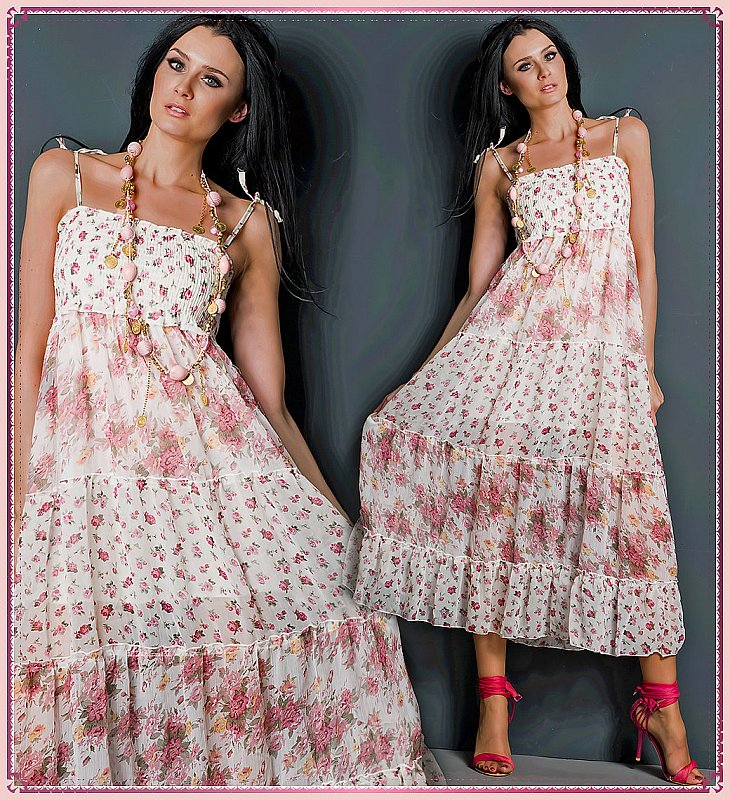 langes r schen volant maxi kleid sommerkleid gebl mt rosa weiss xs s m 34 36 38 ebay. Black Bedroom Furniture Sets. Home Design Ideas