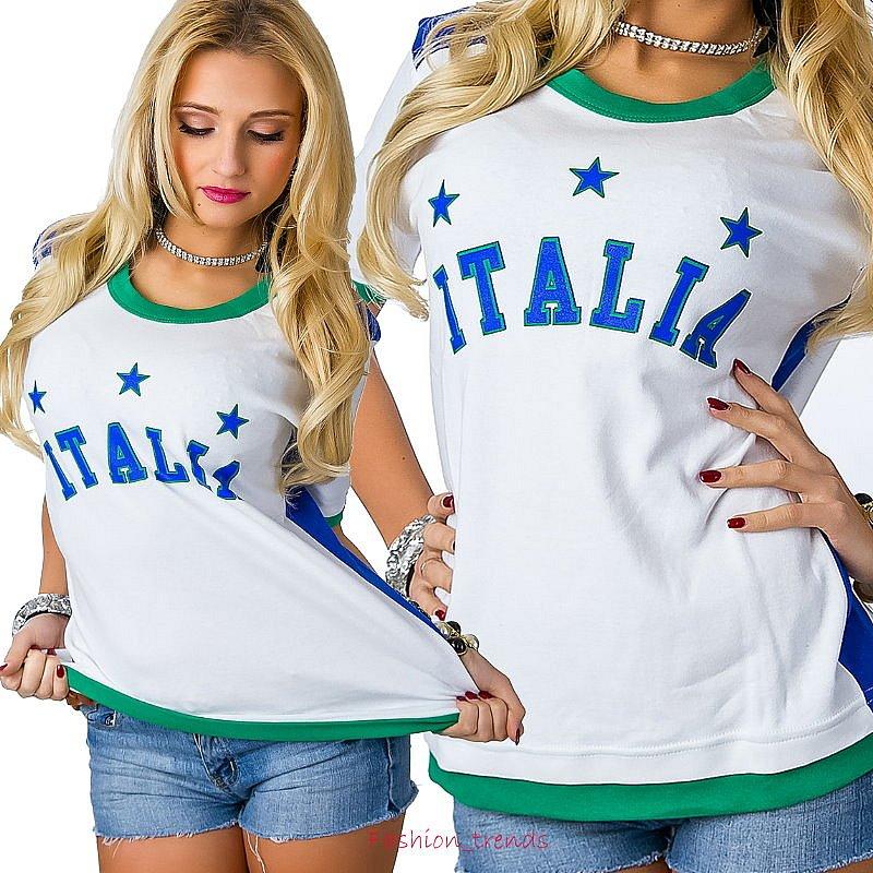 italien italia fussball wm em damen top trikot t shirt fan. Black Bedroom Furniture Sets. Home Design Ideas