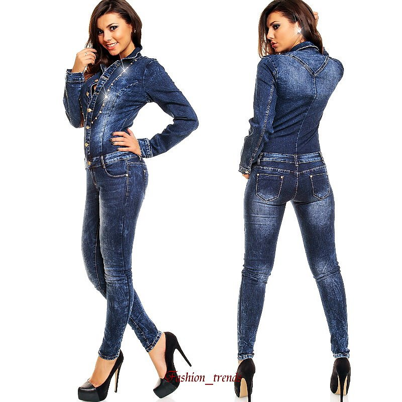 damen jeans overall lang strasssteine jeans jumpsuit onepiece catsuit. Black Bedroom Furniture Sets. Home Design Ideas