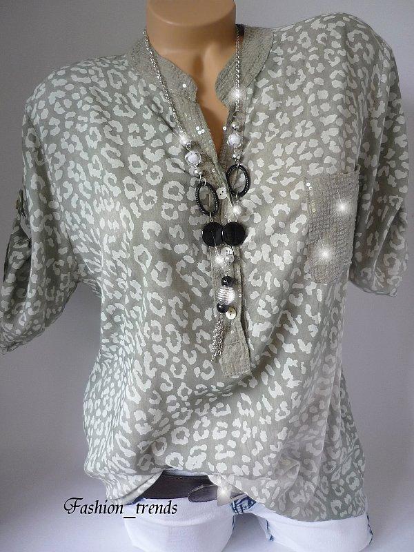 damen italy glitzer pailletten leo bluse shirt tunika. Black Bedroom Furniture Sets. Home Design Ideas